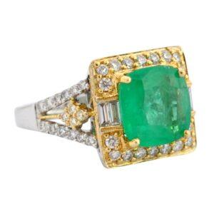 Columbian Emerald Diamond 18ct Gold Ring