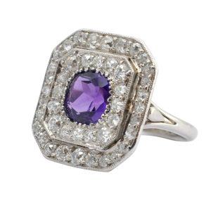 Art Deco Amethyst Diamond Platinum Plaque ring