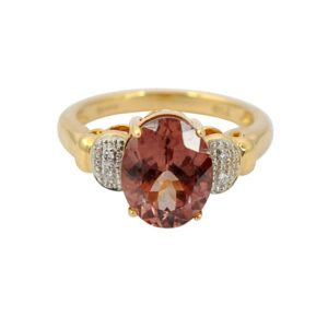 Peach Tourmaline Diamond 18ct Gold Ring
