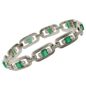 Art Deco Emerald Diamond Gold Bracelet