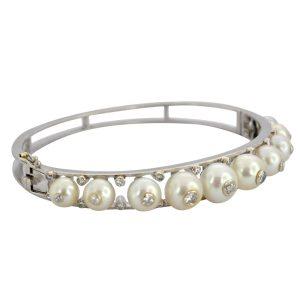 Antique Diamond Pearl Gold Bangle