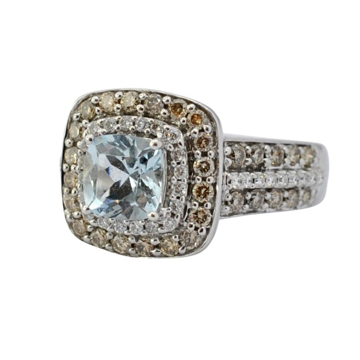 LeVian Sea Blue Aquamarine Diamond Ring