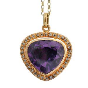 Victorian Amethyst Diamond Gold Pendant