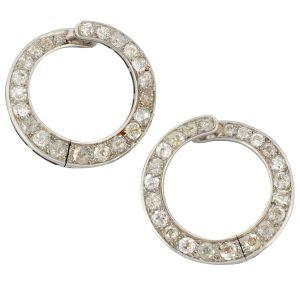 Art Deco Diamond Hooped Gold Earrings