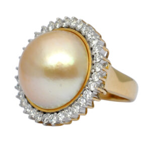 Mabe Pearl Diamond Gold Ring