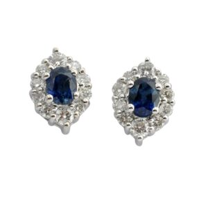 Sapphire Diamond Gold Cluster Earrings