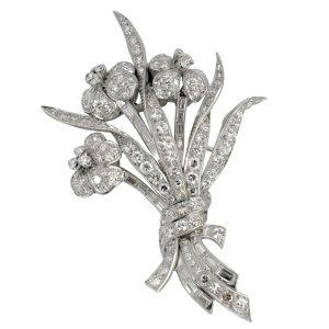 Vintage Diamond Platinum Floral Spray Brooch