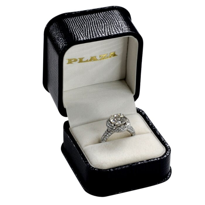 3.38CT Diamond Solitaire Halo Gold Ring