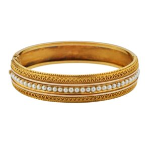 Victorian Pearl 15ct Gold Bracelet