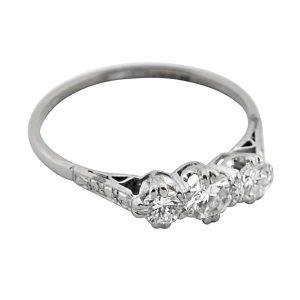 Three Stone Diamond Platinum Gold Ring