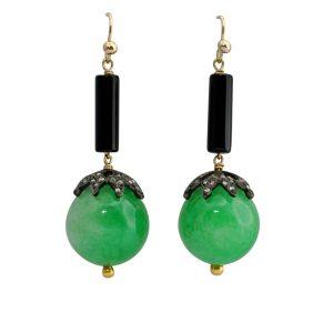 Jade Onyx Diamond Gold Earrings