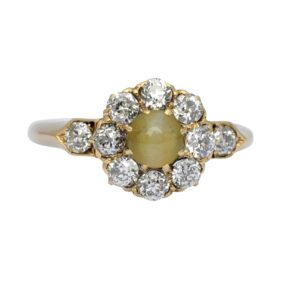 Chrysoberyl Cats Eye Diamond Gold Ring
