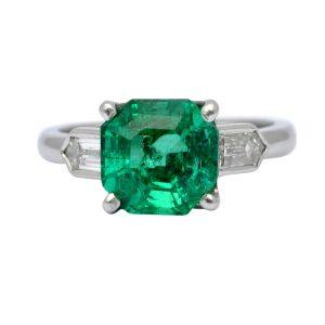 Art Deco Columbian Emerald Diamond Platinum Ring