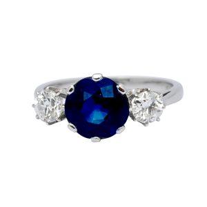 Sapphire Diamond Platinum Gold Engagement Ring