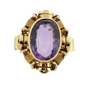 Mid Century Amethyst Gold Ring