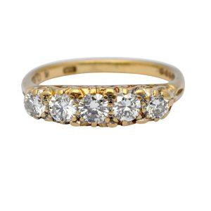 Vintage 5 Stone Diamond 18ct Gold Ring